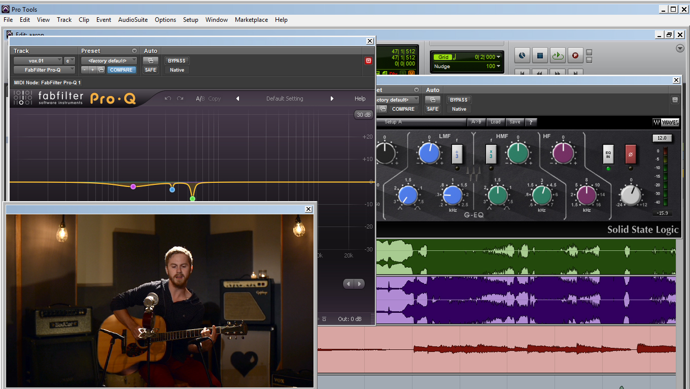 Editing audio to the video for Aaron Cox, Nashville singer/songwriter