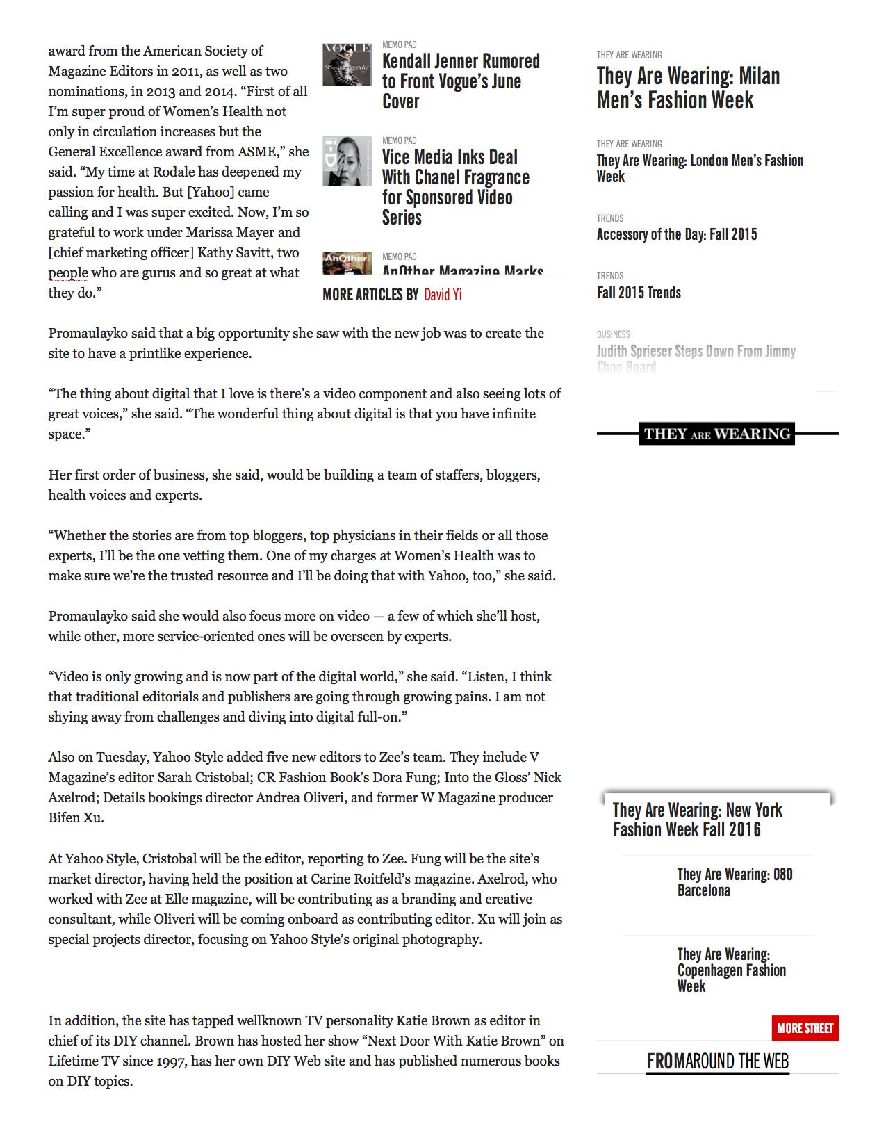 WWD - Michele Promaulayko Tapped to Head Yahoo Health2.jpg