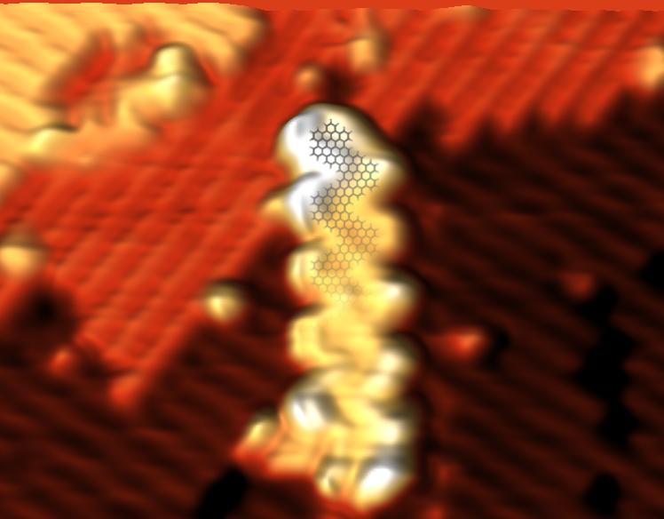 STM Topograph of an Atomically precise chevron graphene nanoribbon on H:Si(100)
