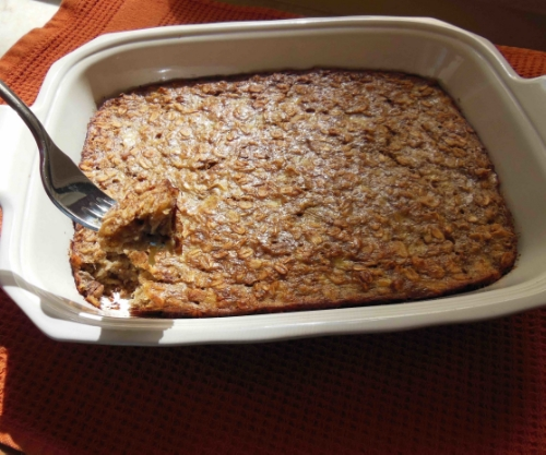 Baked Oatmeal - Golden brown on top and baked through.