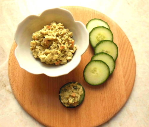 Creamy egg salad gets a little zip from curry, cilantro and scallions!