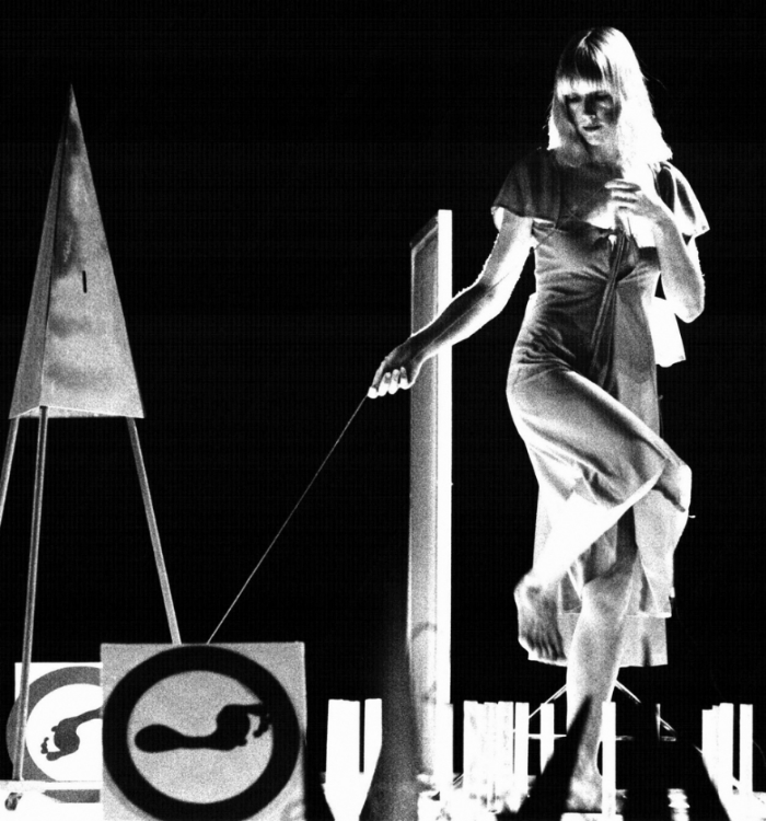 The artist performing with SOON 3 Theater, Rome 1981.
