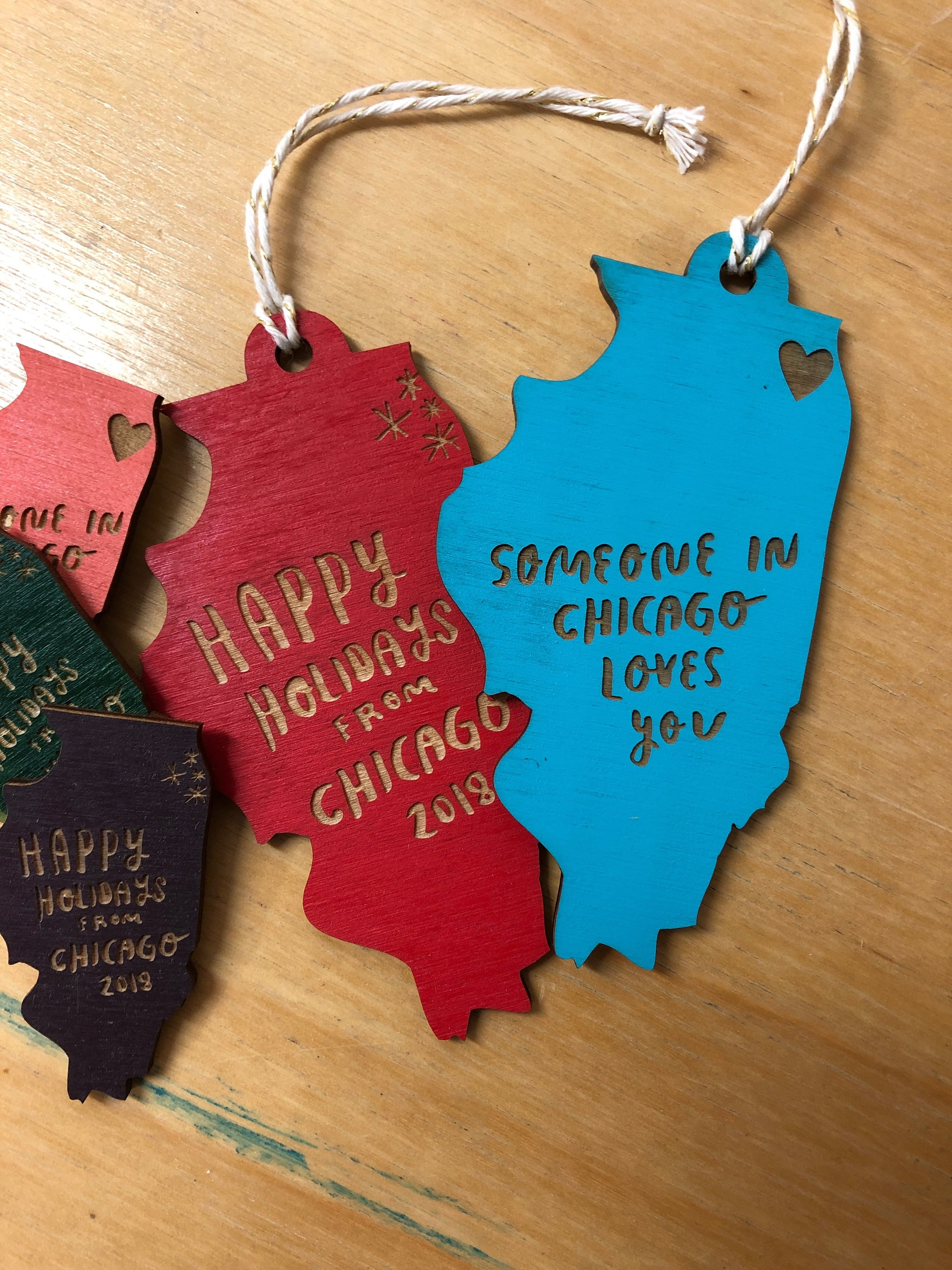 Custom Lasercut Painted Chicago Holiday Ornaments Snowmade