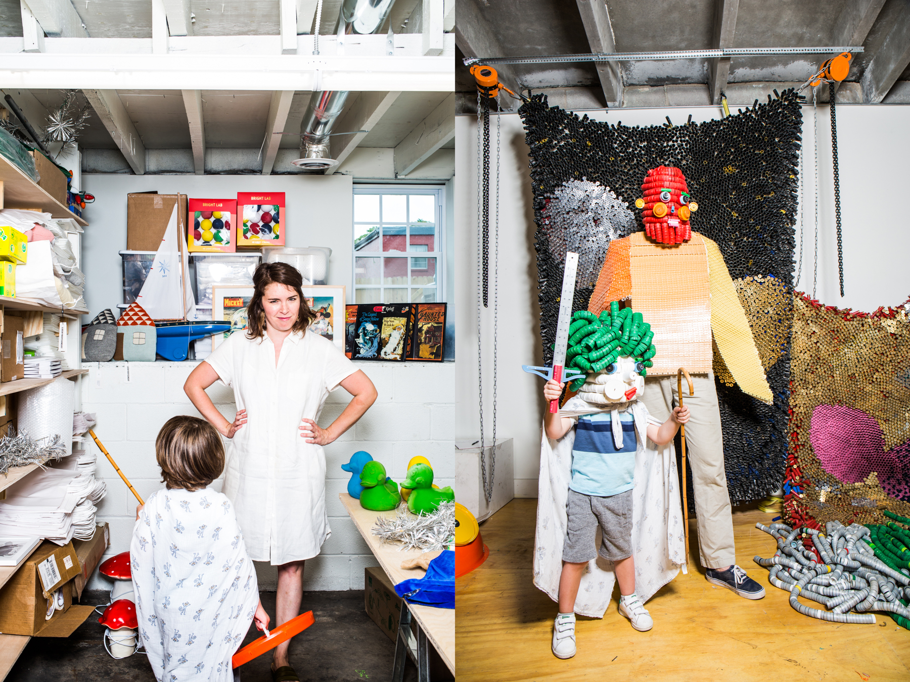 """Left: Genie Lockwood, owner of the Nashville children's store Arcade, uses her space for planning and product research. What' s her favorite thing about working from 1411 Buchanan? """"I love being around Alex. I've pretty much been obsessed with him since we first met."""" Right: Alex Lockwood and son Roman wearing costumes of Alex's design."""