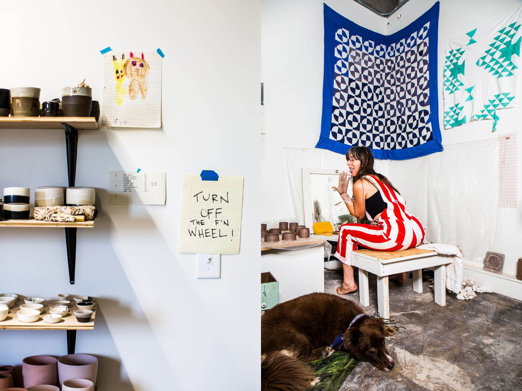 """Ceramicist Jessica Cheatham was one of 1411's first tenants. """"I feel so lucky, everyday, that I get to walk through those doors and make shit… with an inspiring family all around me."""" Plus, """"there is never a shortage of good company dropping by."""""""