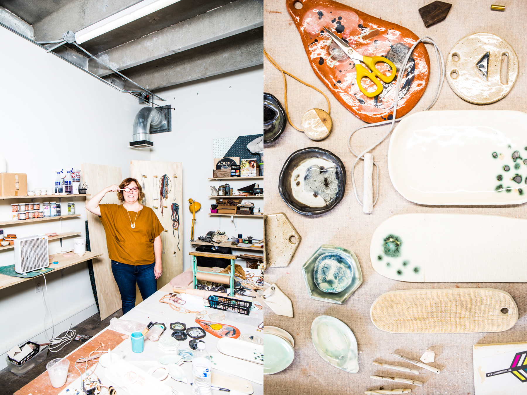 """Carolyn Burgess of Acorn & Archer is a lifelong friend and studio-mate of Jessica Cheatham. Of 1411, she says: """"It's unique to work surrounded by people that you don't actually work with. So many ideas swirling around the halls/rooms each day is awesome."""""""