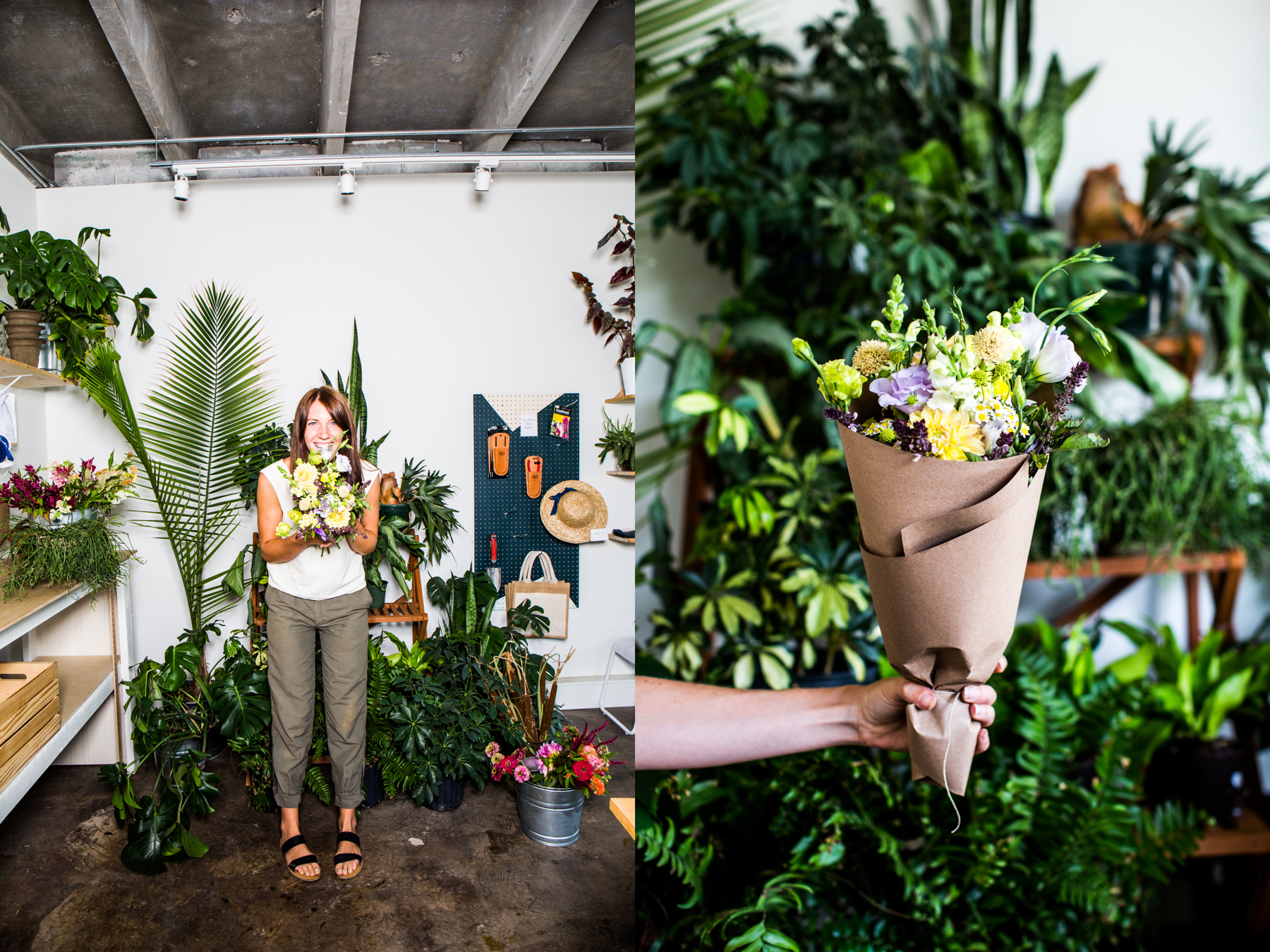 Christie Craig runs The Farmer & The Florist out of the front of 1411, selling organic and locally sourced flowers and vegetables grown by her farmer fiancé, Will Tarlton.
