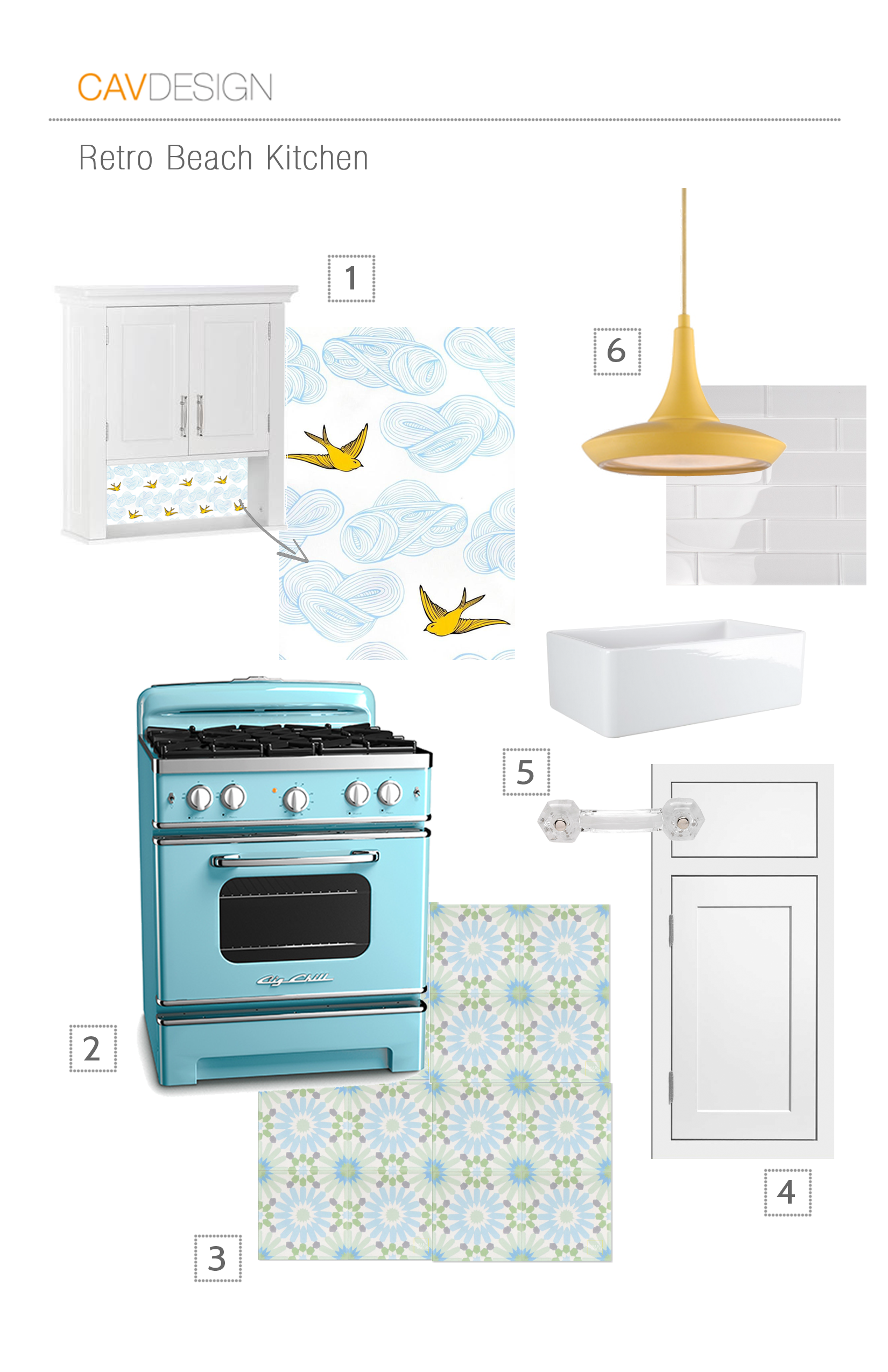 1. wallpaper from  Spoonflower  | 2.Range in Beach Blue from  Big Chill   | 3.Cement floor tile from  Mosaic House   | 4. Inset cabinets from  Cliqstudio  | 5. Glass handles from  Rejuvenation   6. Pendants from Dot&Bo