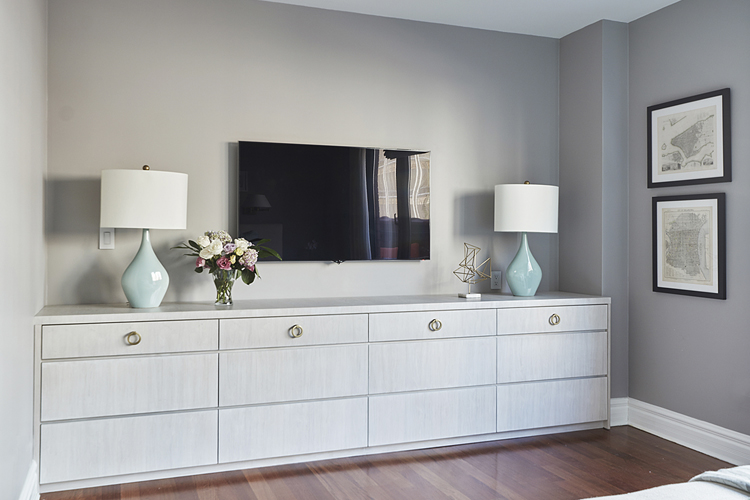 The softness of a bleached walnut and the classic design lends a serene atmosphere to this bedroom dresser. The drawers open with a gentle push, and glide closed. See the companion nightstand in the next image.
