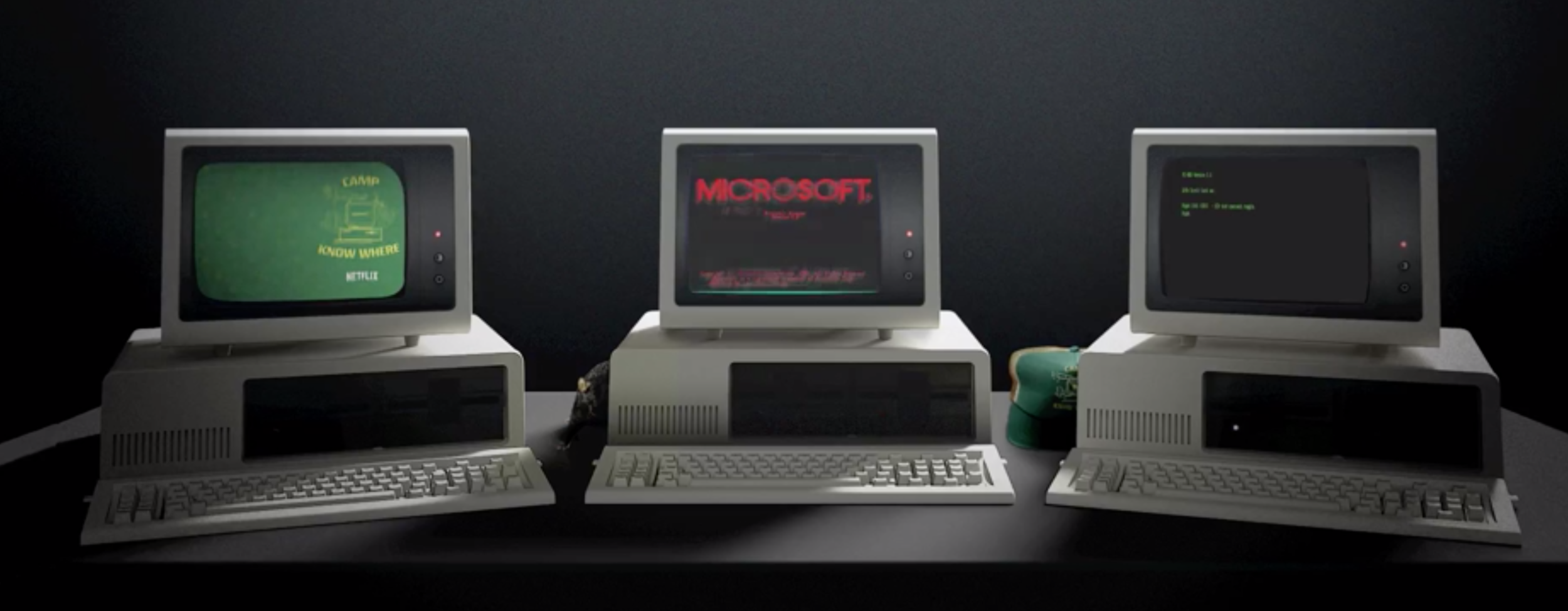 1. Microsoft. Blessed be the geeks, for they will inherit the earth. Or save it. Check out these 1985 throwback apps. And then take another look at Dustin's cap…  https://www.microsoft.com/en-us/windows/strangerthings3?