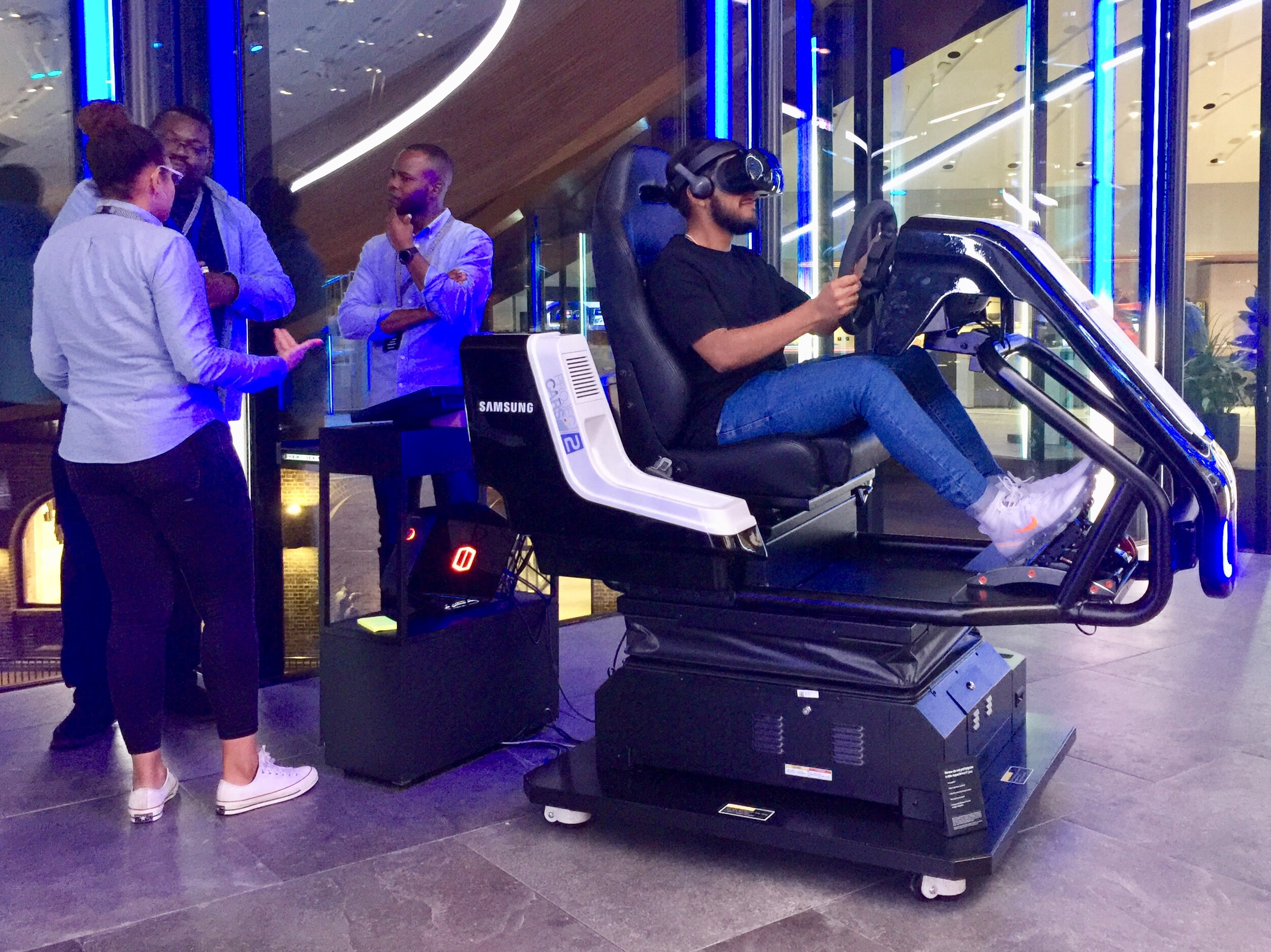 Update: - Having visited the store, the most interesting talking point was the Samsung Project Cars 2. Two hi-tech experiential driving seats that move, tilt and vibrate in reaction to a racing game that plays through your VR headset. This technology is the closest you can come to driving without getting in a car - casting potential for future collaboration between Samsung and Universal to promote our favourite vehicular action movies?