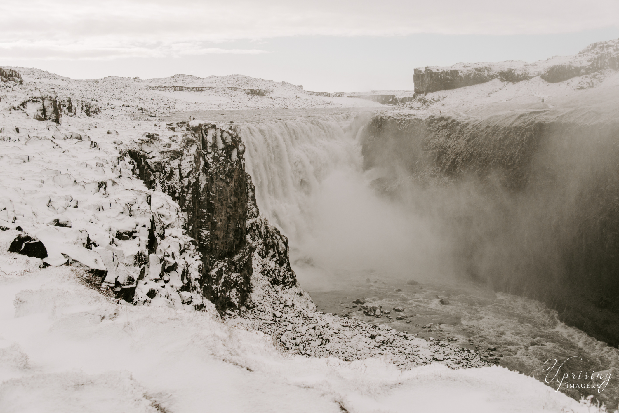 Dettifoss - The falls are 100 metres (330 ft) wide and have a drop of 44 metres (144 ft) down to the Jökulsárgljúfur canyon. It is the largest waterfall in Icelandin terms of volume discharge, having an average water flow of 193 m³/s