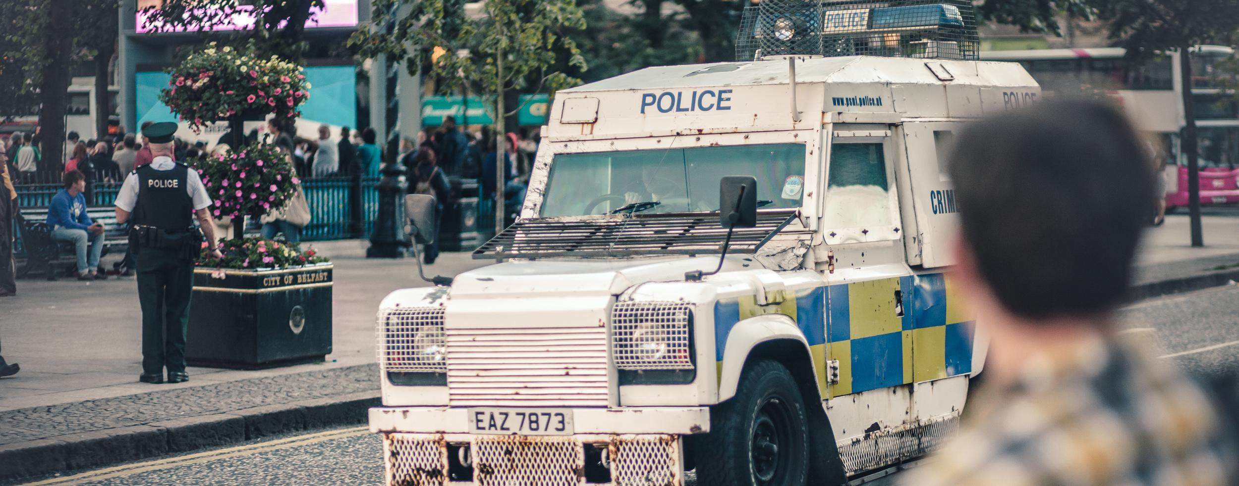 Police vehicle in city center Belfast, Northern Ireland, (photo captured Summer 2013)