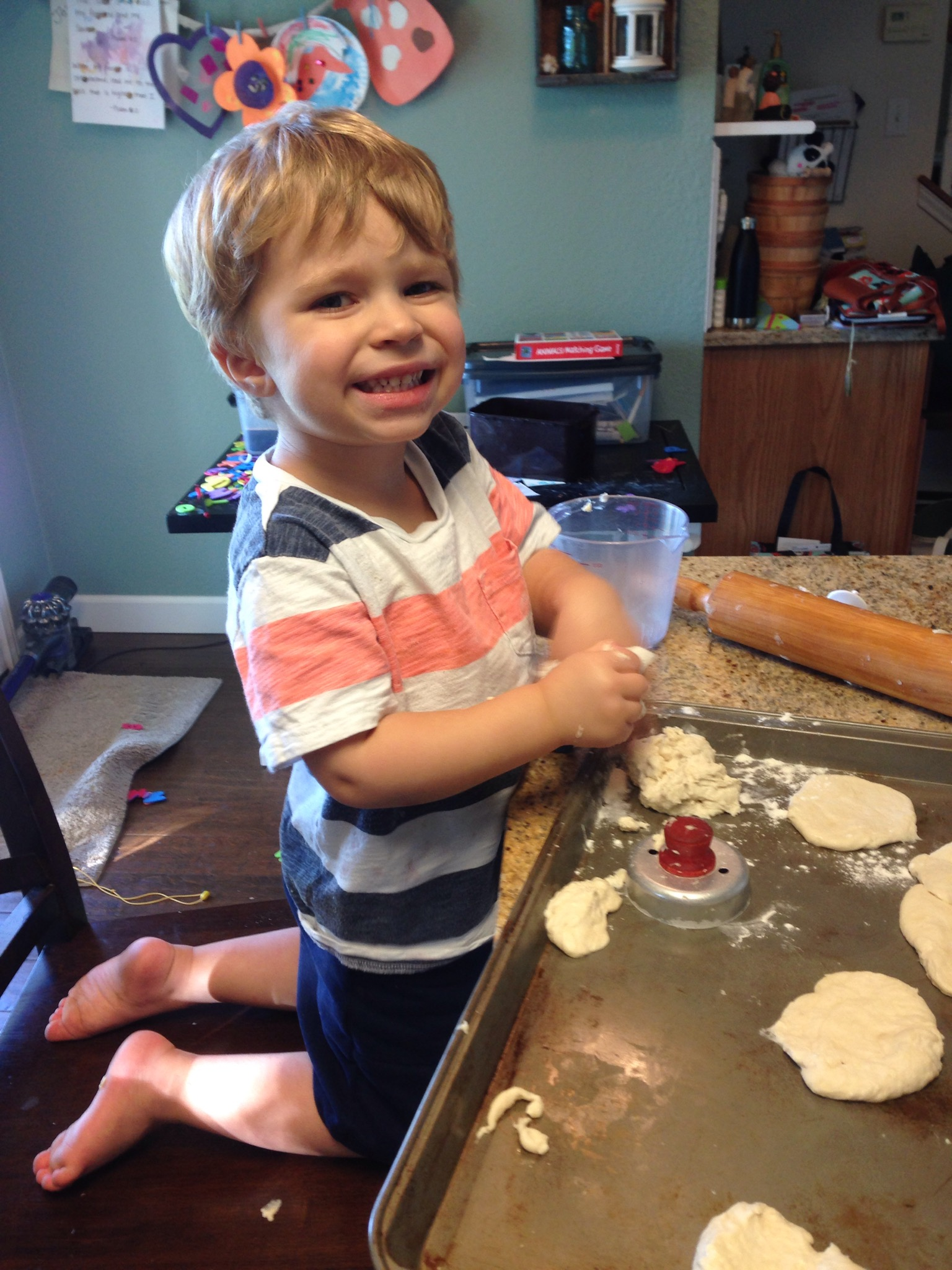 Sawyer making biscuits with Mommy