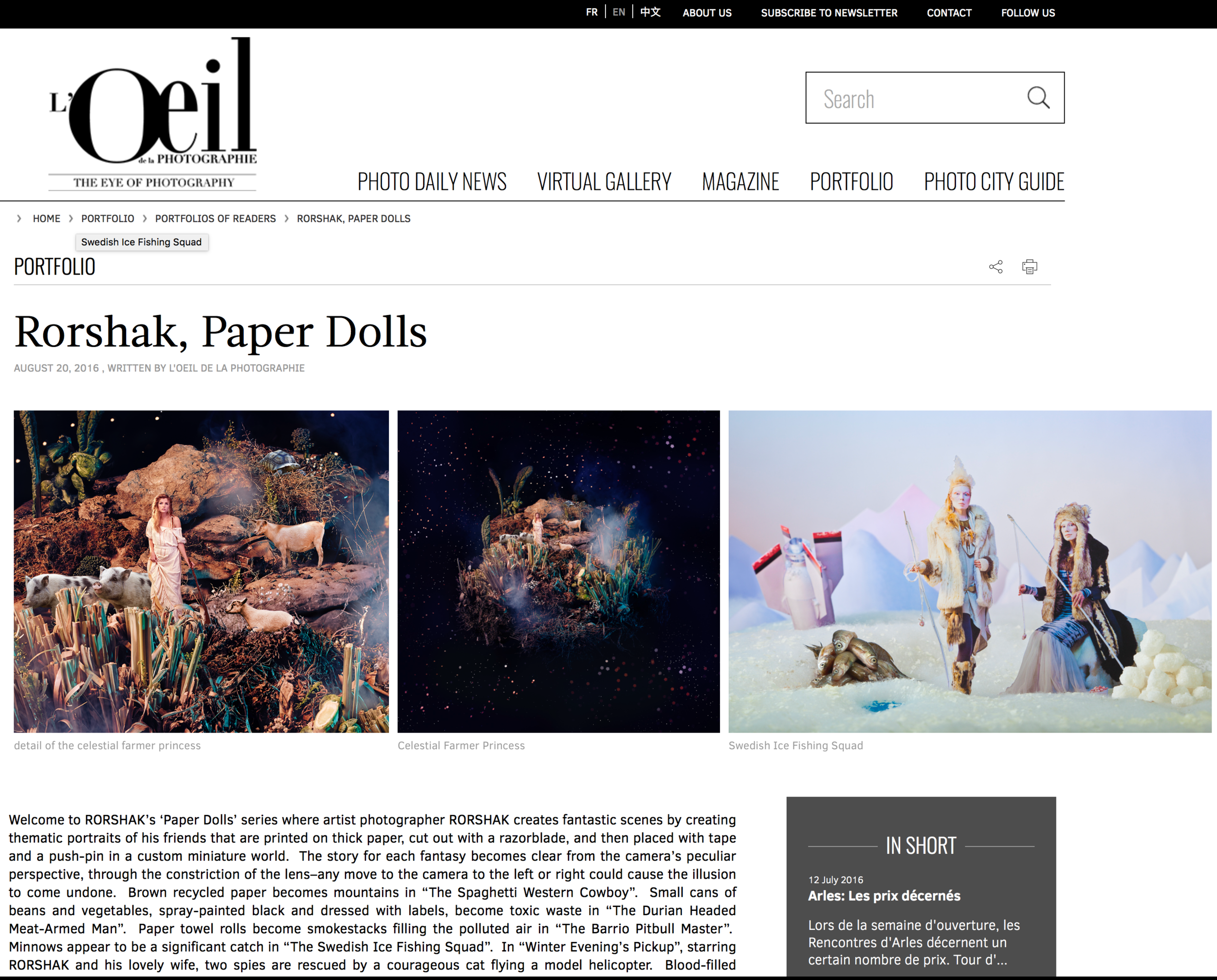 I was delighted to see my work featured by the world-famous, and perhaps the world's very best, photo blog this weekend. Thank you L'Oeil de la Photographie!