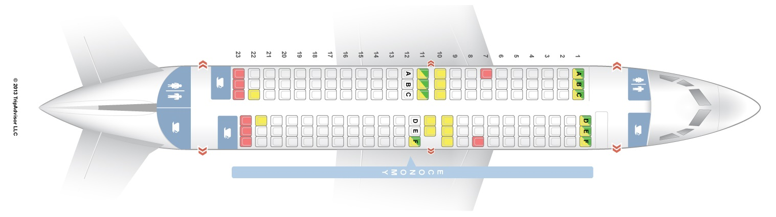 Use Seat Guru to get a map like this and look up the best/worst seats before the flight