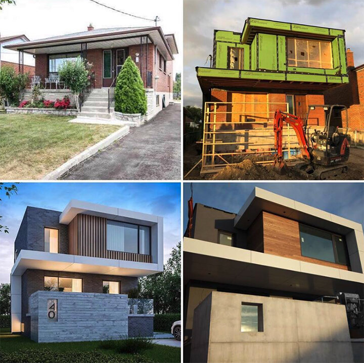 Clockwise from Top Left: The original home, Home under construction, Home facade
