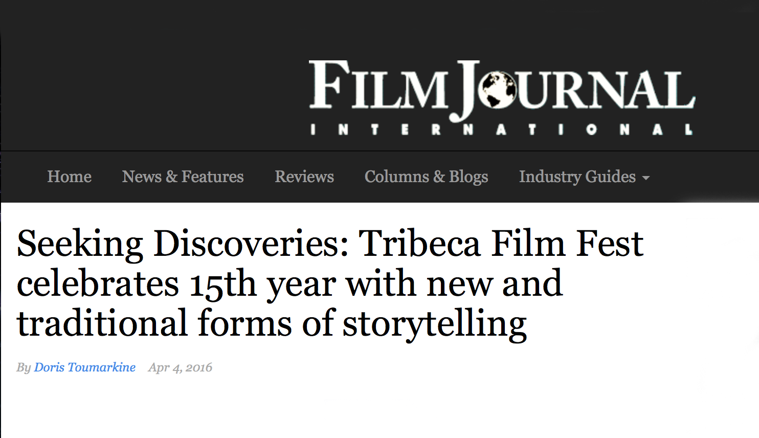 Seeking Discoveries: Tribeca Film Fest celebrates 15th year with new and traditional forms of storytelling