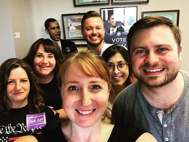 Our phone bank fun is over, and of course we had to end with a group selfie! Thanks to everyone who came out today! #municipalsmatter #slcodems #utdems