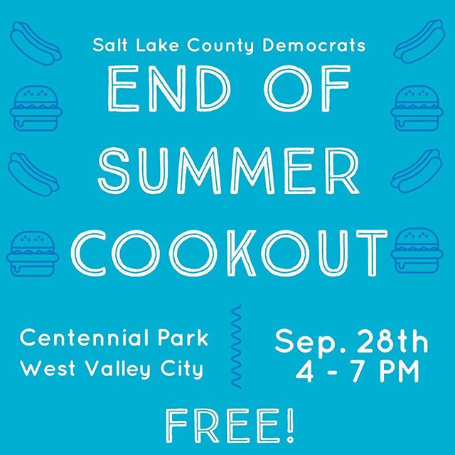 Join us for our annual cookout at the end of the month! Bring your friends and family to get some free food, meet candidates and electeds, and hang out with Democrats from across the County! #getinvovled #slcodems #utdems #saltlake #utah #democrats