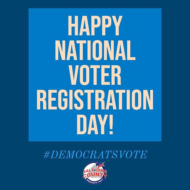 Are you registered to vote? Are your friends? How about your family? If you or someone you know has been waiting to register, today is the day! Help us celebrate National Voter Registration Day by registering one new voter! #vote #slcodems #utdems