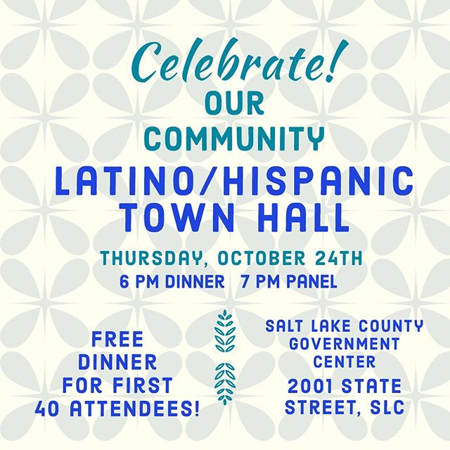 You're invited to thIs week's Latino/Hispanic Town Hall! We are excited to hear from a panel of local leaders in the Latino/Hispanic community.  #saltlake #community