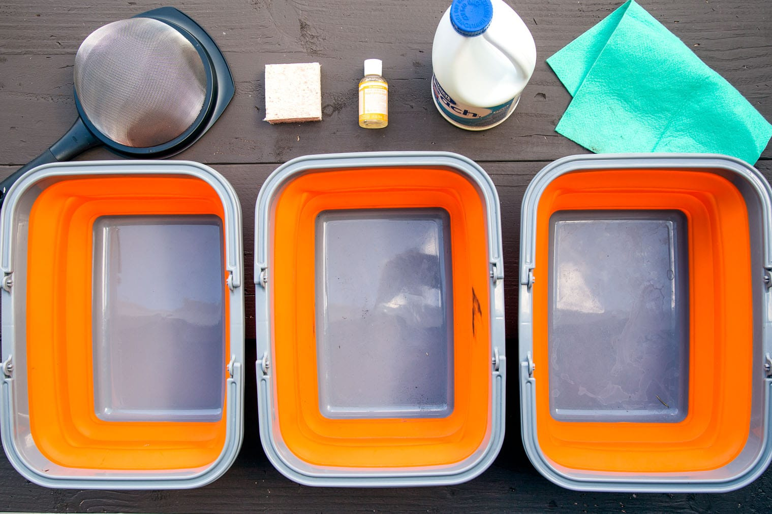 Camp-style dishwashing system. Photo credit: https://www.freshoffthegrid.com