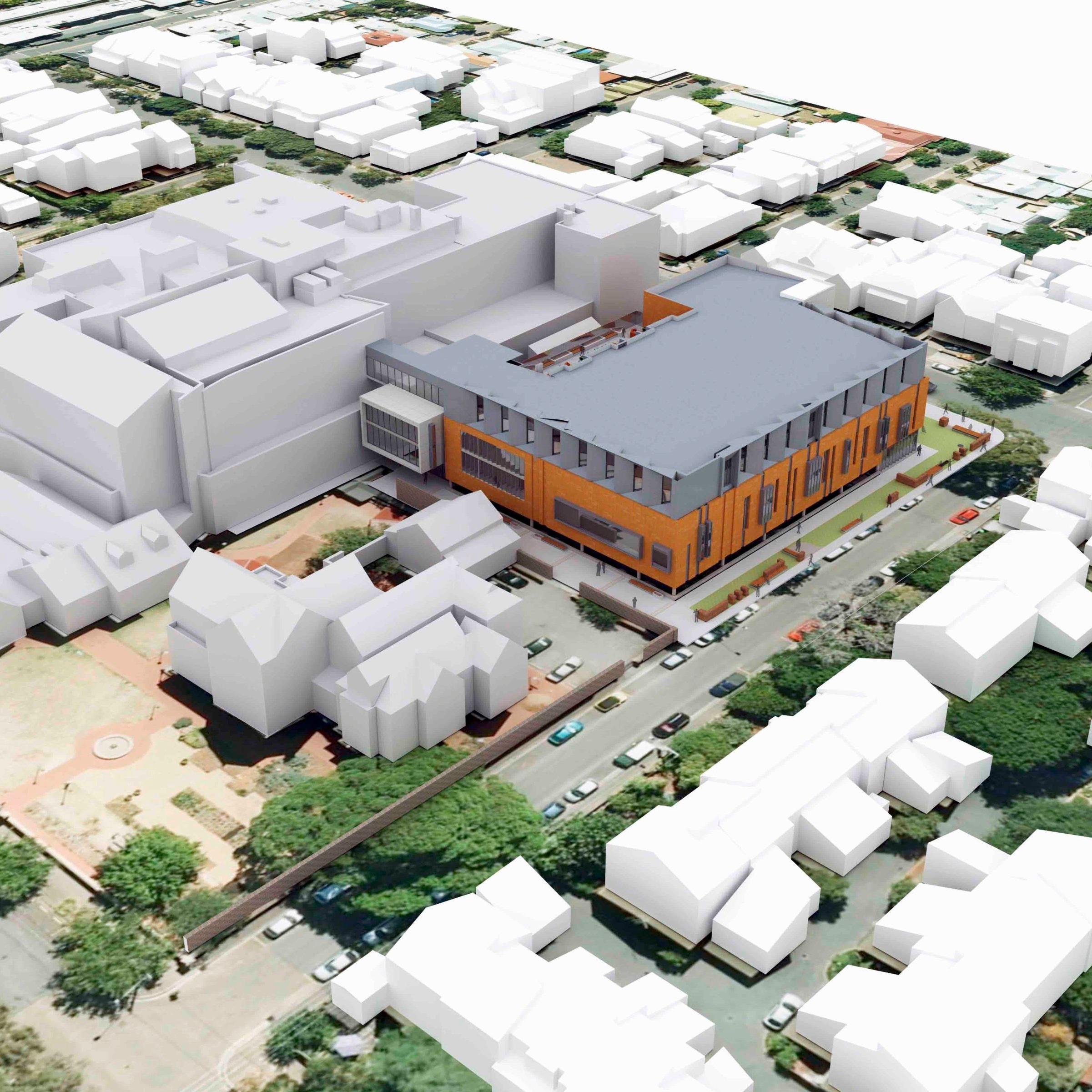 St Andrew's Hospital | Concepts and Development Approval   Massing model placed within existing urban context, supported by exploded axonometric graphics to assist visualisation of floor use, functional relationships and circulation.