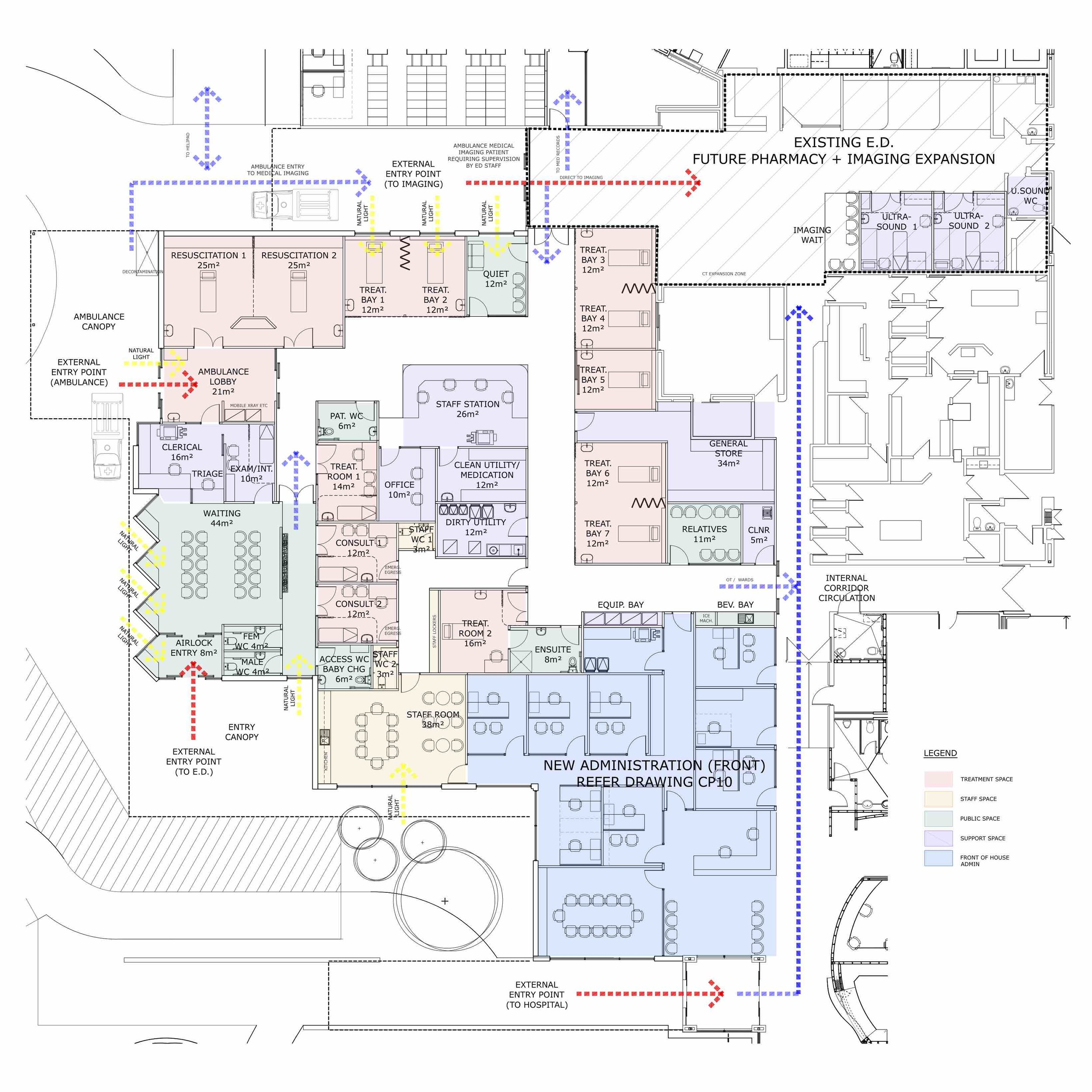 Murray Bridge Hospital | Emergency + CSSD Concept Planning   Conceptual planning and workflows for the Murray Bridge Soldiers Memorial Hospital Emergency Department and Central Sterile Services Department.