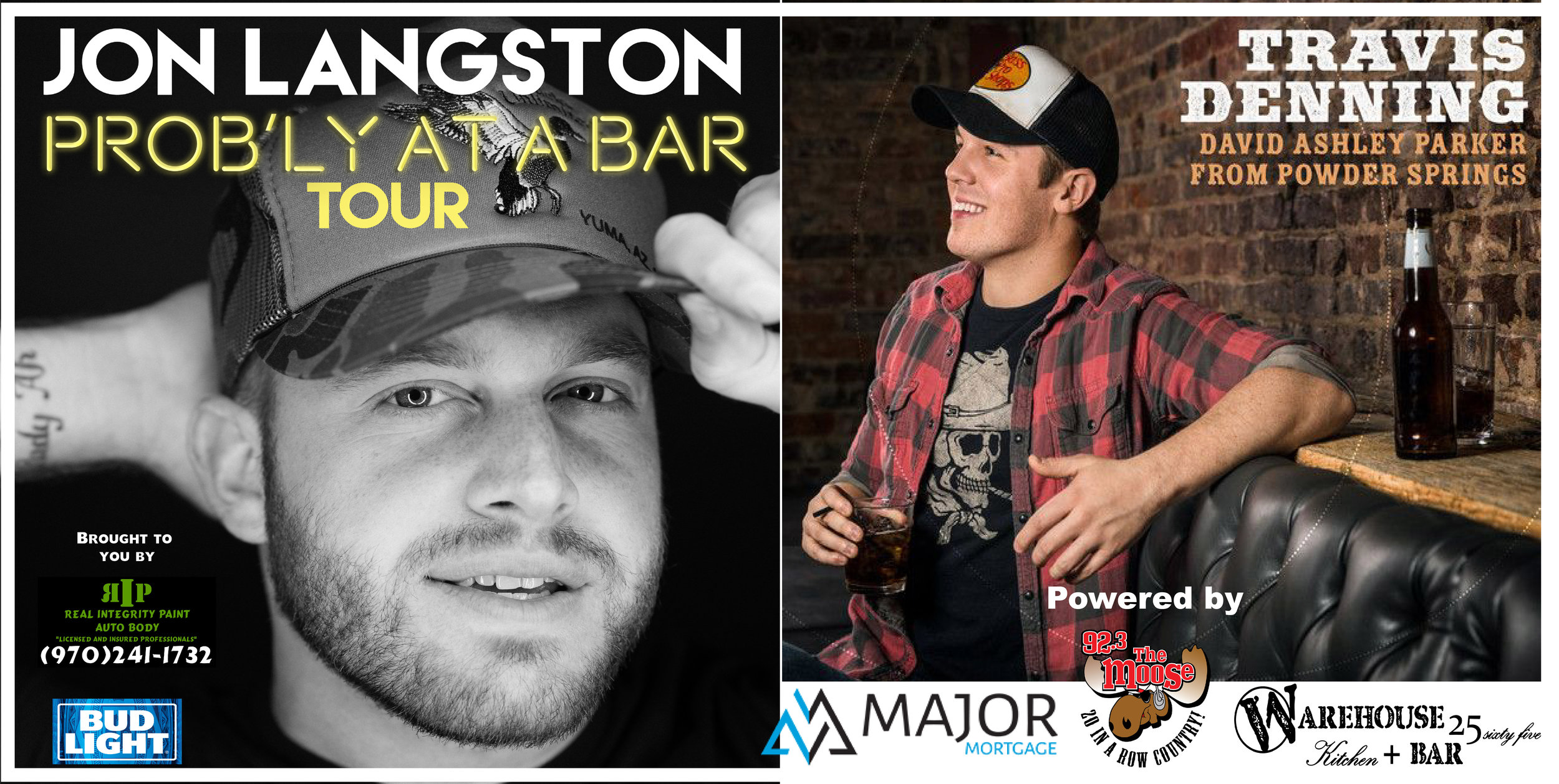 Jon Langston & Travis Denning Set for a killer CO HEADLINE SHOW only at the Warehouse! Western CO let's throw these boys a good ol fashion party!