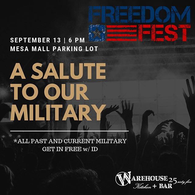 Join us Friday Sept 13th 6pm at The Mesa Mall parking lot near Boot Barn for Mesa Mall's Freedom Fest featuring @patgreenmusic, @charley_jenkins and @remi_mae9!  A Salute to our Military: ALL Military members (Past + Present) get in Free with ID.  We're bringing our Warehouse crew and we'll be serving you all night long, so get your tickets and find a safe ride for another great Fall concert!  Tickets: www.warehouse2565.com  #warehouse2565 #freedomfest #mesamall #gjcolorado #patgreen #charleyjenkins #remimae #wehonorourheroes #wehonorourmilitary #merica #countrymusic