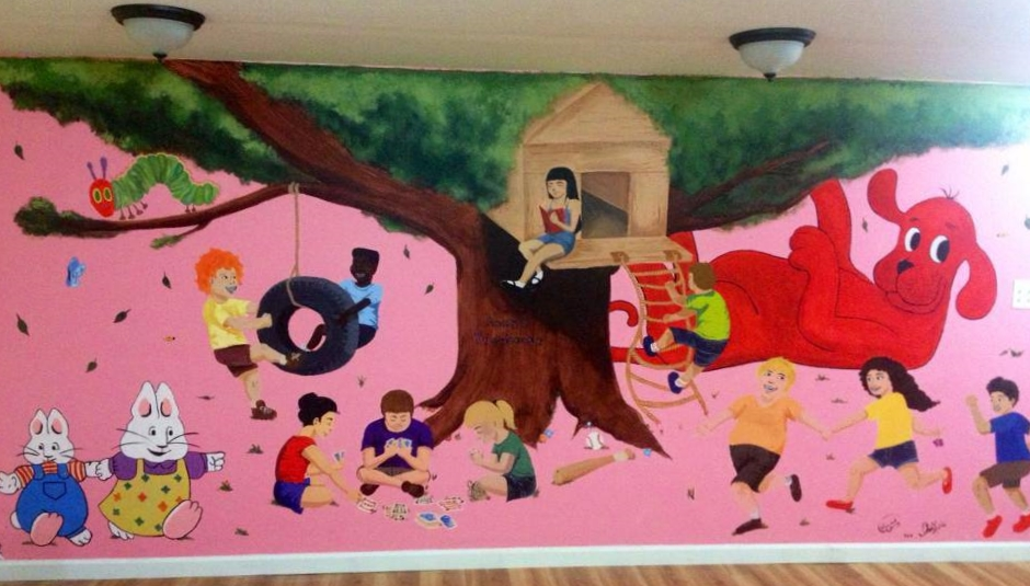 Commissioned mural collaboration with Rosie Waleleng.  Anna's Treehouse in New Rochelle, NY.  2013.