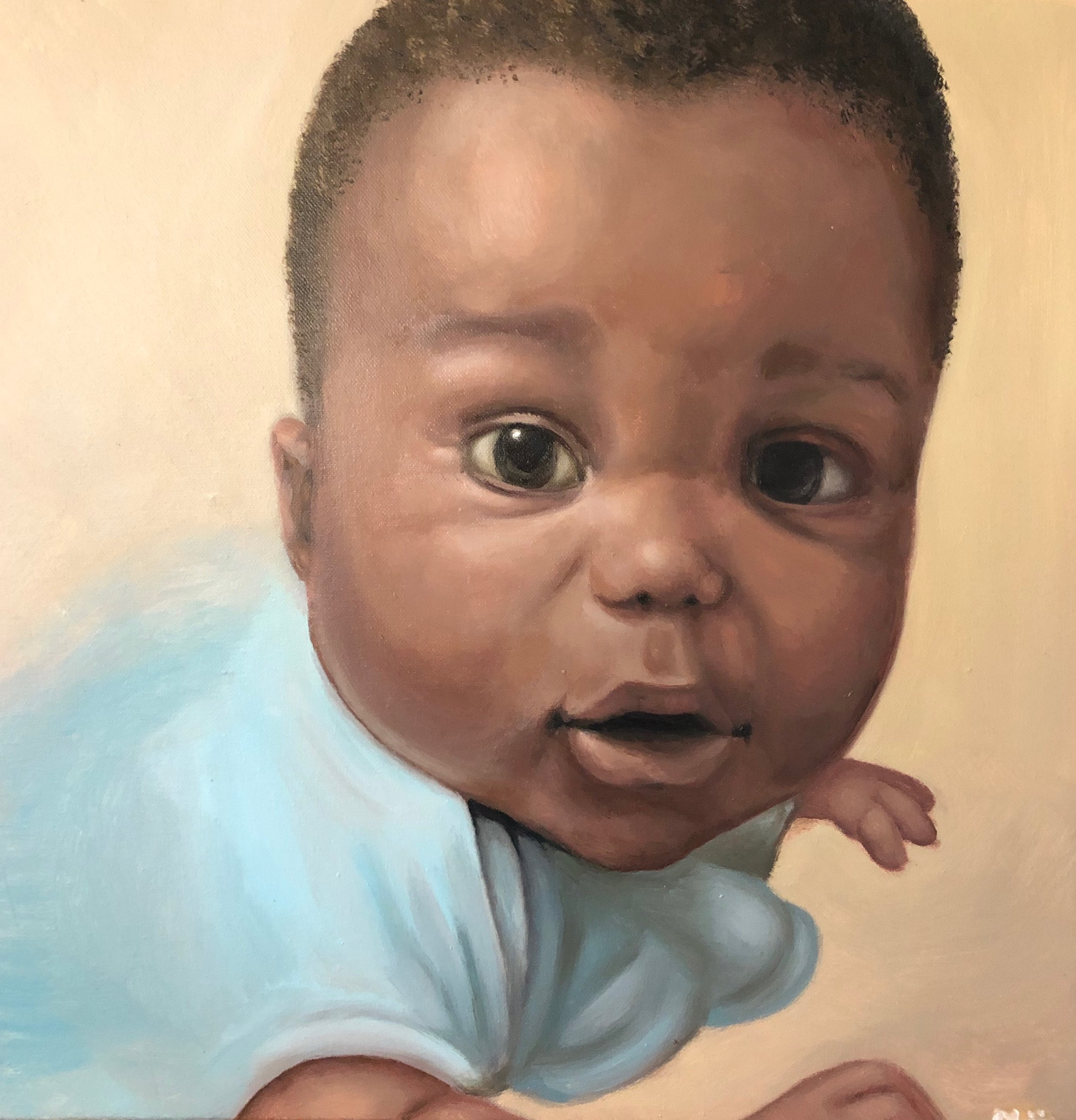 "Oil on canvas.  18x18.""  2019."