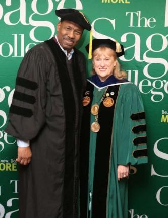 Fred Miller and Sage College President Susan C. Scrimshaw