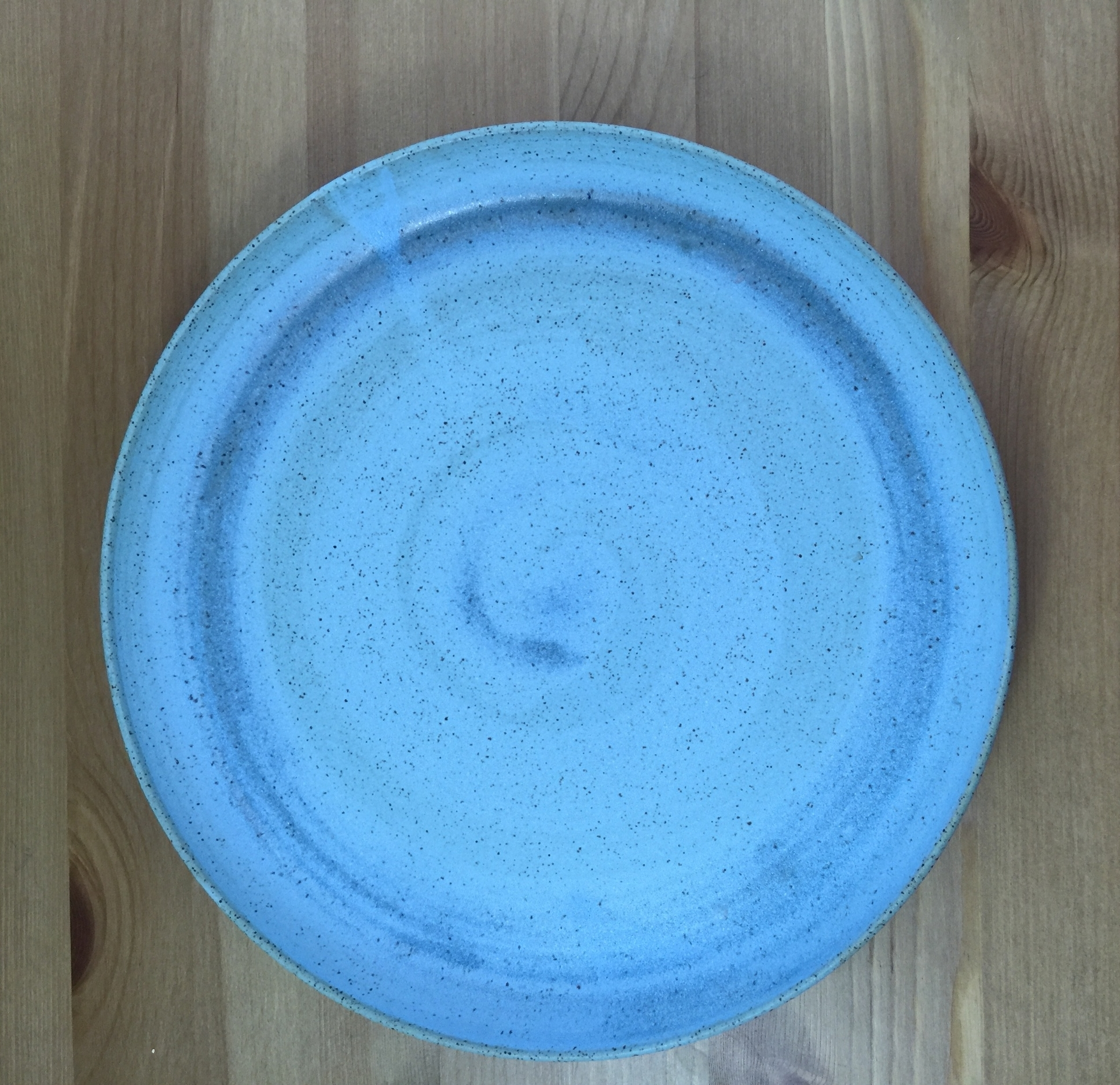 teal platter with clear swirl
