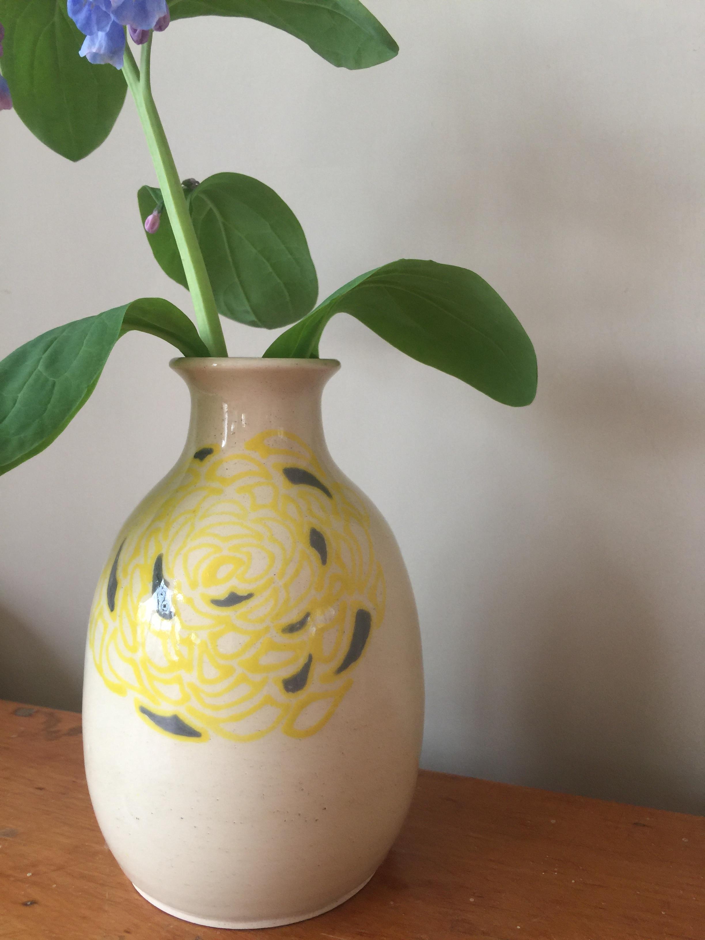 small vase with underglaze design