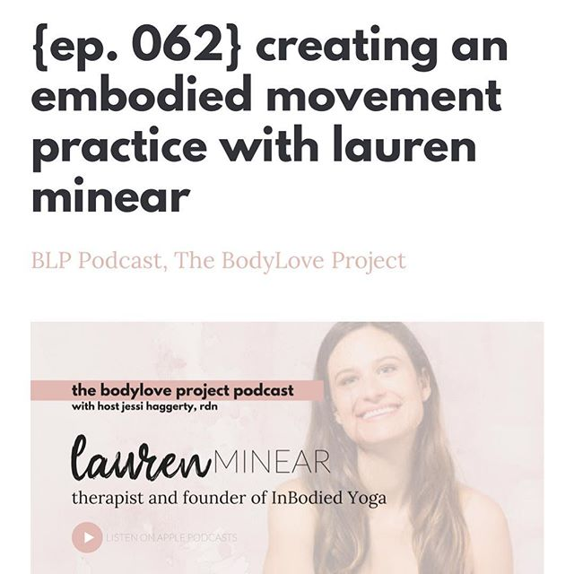 "I had such a nice time recording this episode of the #bodyloveprojectpodcast with @jessihaggertyrd. We talk about my path to becoming a therapist (via investment banking 🤷🏻‍♀️), bringing a trauma-informed lens to movement instruction, and important distinctions between movement and ""exercise"". Visit the link in my profile to listen and definitely subscribe to Jessi's newsletter/podcast for more body affirming resources.  #traumainformedmovement #healthateverysize #intuitiveeating #vulnerabilityisstrength #mindfulmovement #recoverywarriors #yourstorymatters #recoverywarriors"
