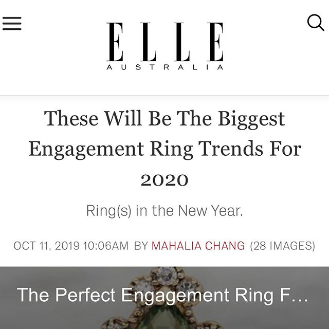 These will be the biggest engagement ring trends for 2020 featuring @nataliemariejewellery. Looking for the perfect ring? Head to @elleaus, read the full article and get inspired! Thank you @mahaliachang x