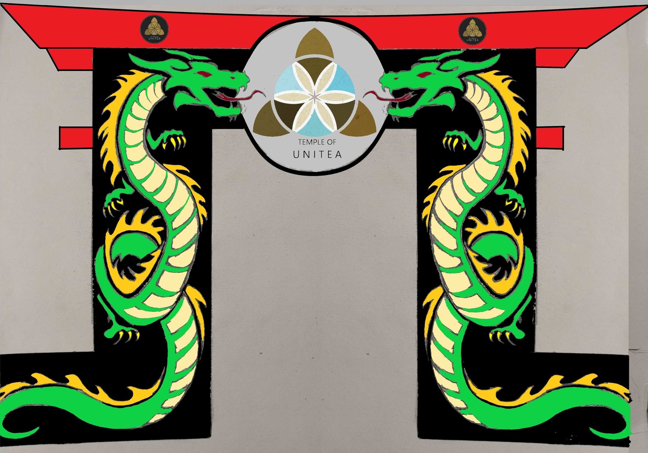 Design for camp entryway made up of 15' dragons, back lit with color changing LEDs to be a welcoming landmark night and day