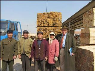 Sawmillers in Lanshan, Rizhao, in February 2012