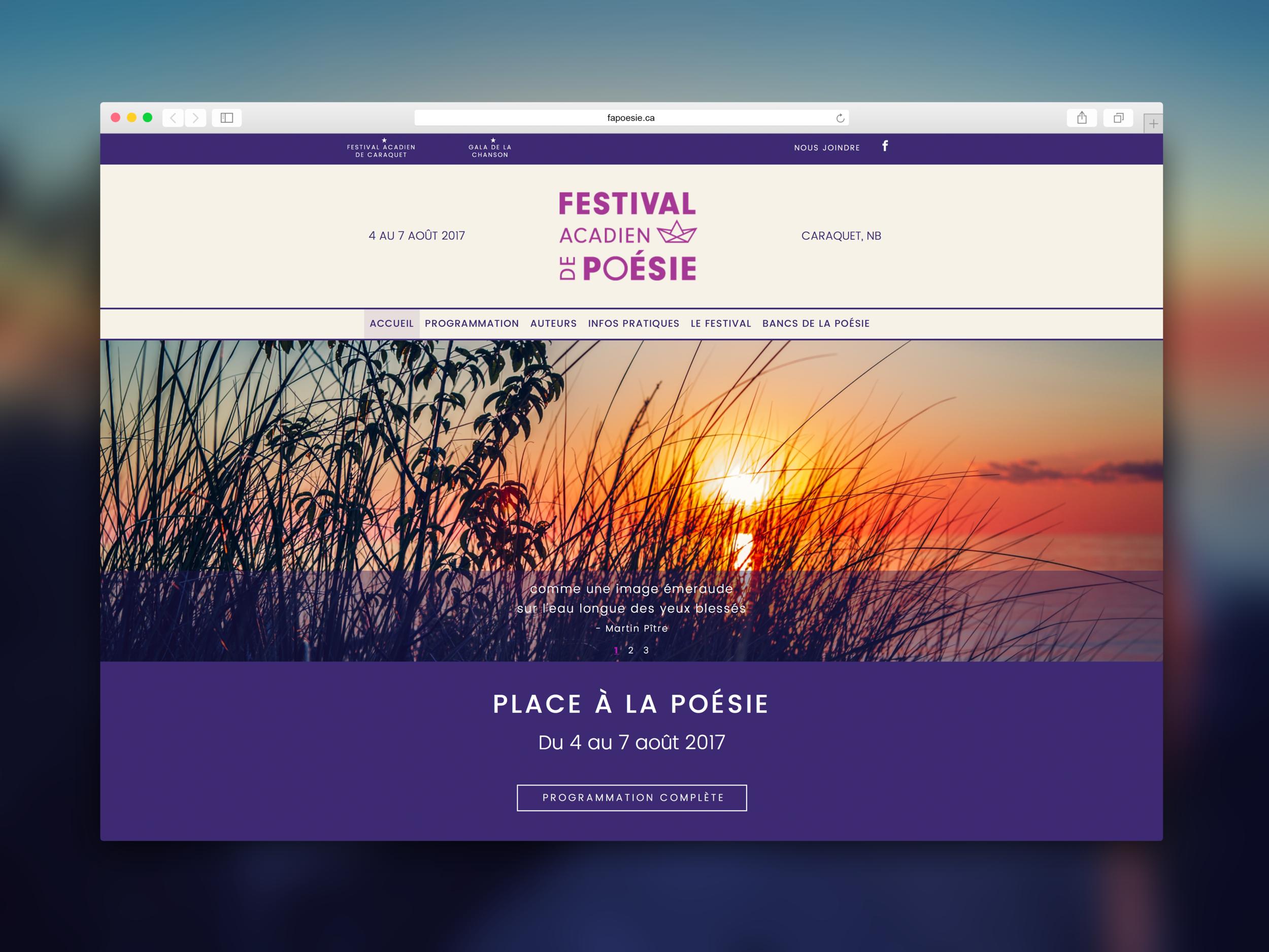Festival acadien de poésie - Site web. Programmation par Promotions Citrus.