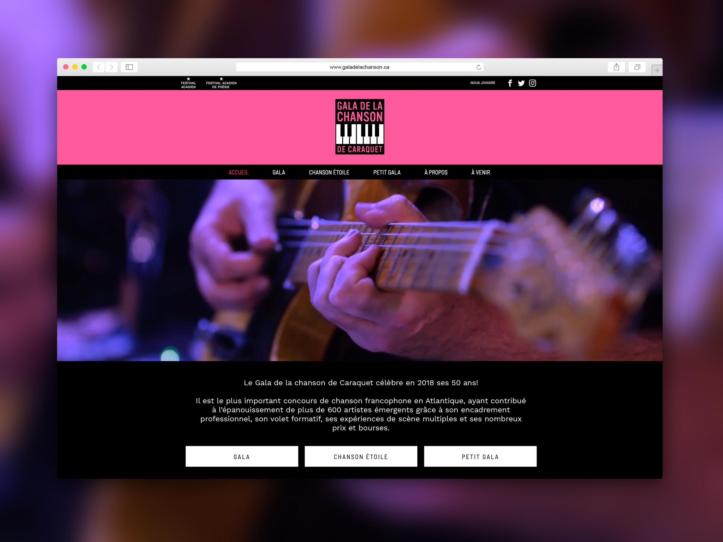 Gala de la chanson de Caraquet - Site web. Programmation par Promotions Citrus.