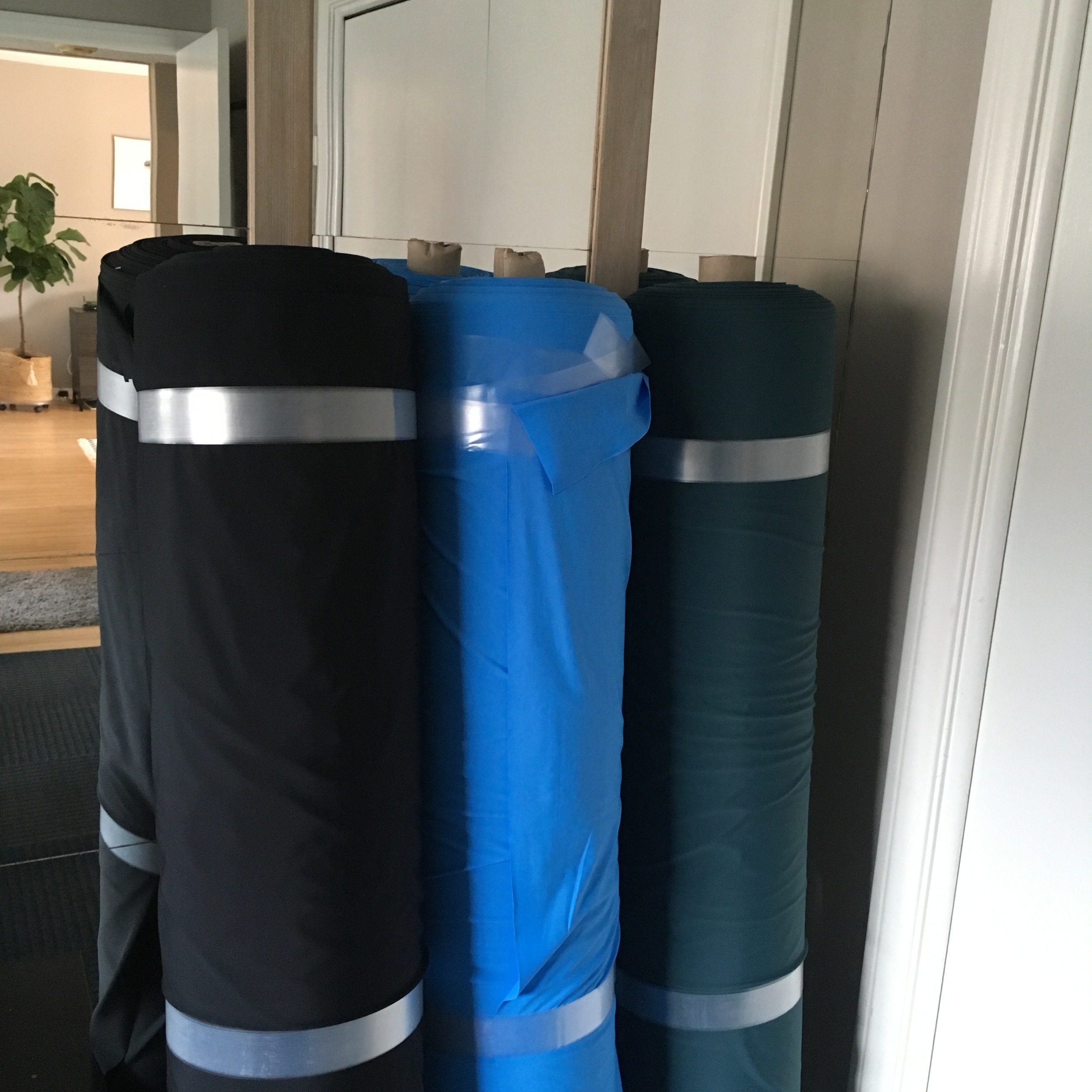 Econyl by Aquafil Group in Jet Black; Sky Blue; Deep Sea Green.