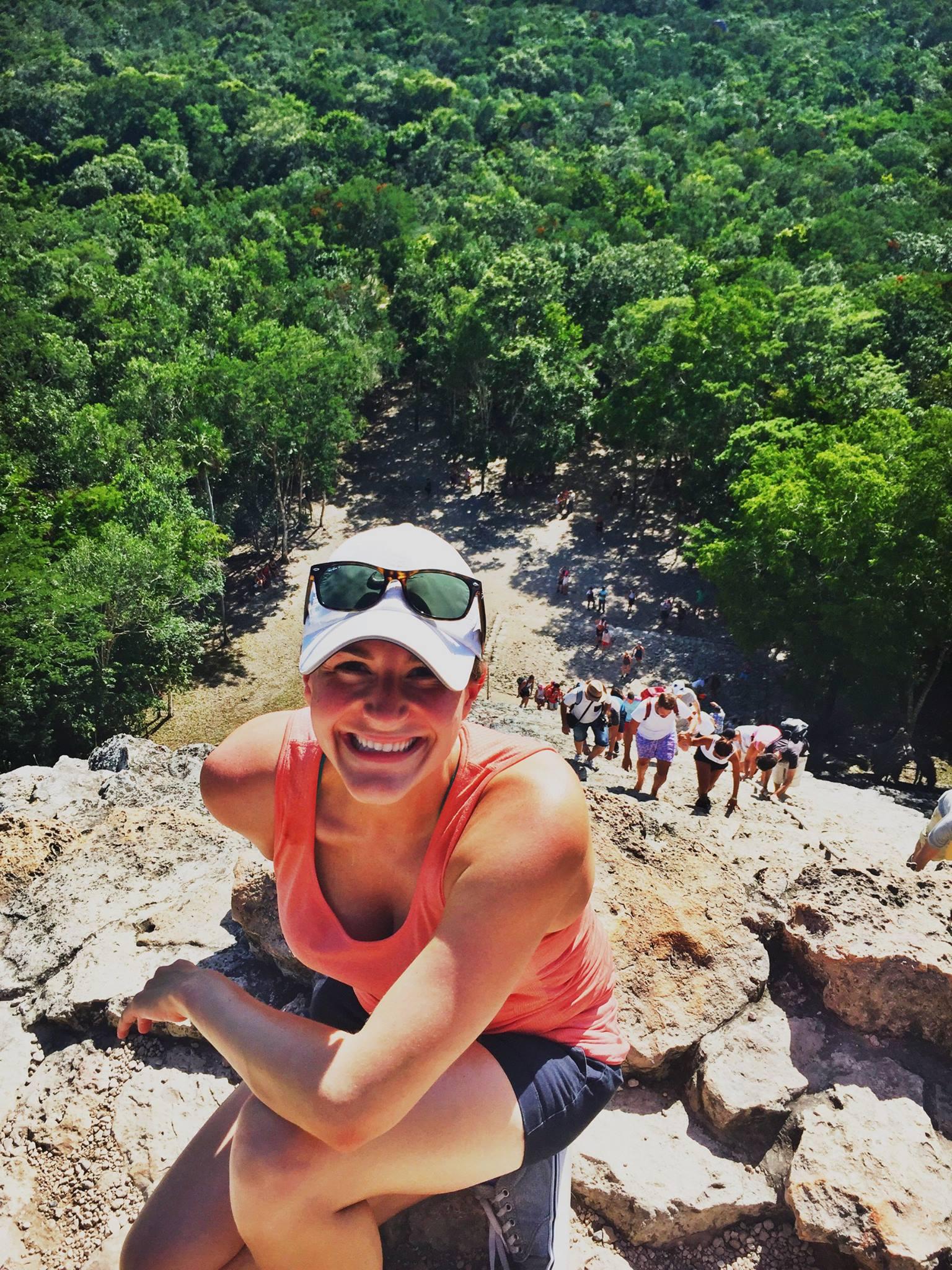Lauren climbing the Coba Mayan ruin in Riveria Maya, Mexico in October 2016.