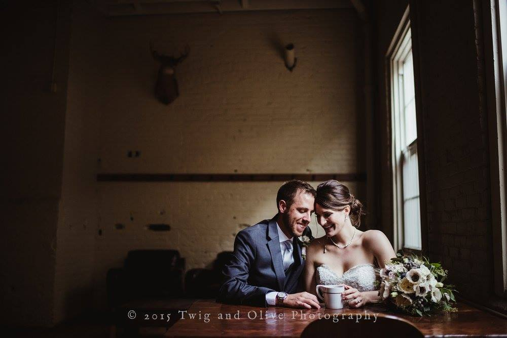 Lauren and her husband, Jeff, at  Stone Creek Coffee (their favorite coffee shop) on their wedding day in October 2016.