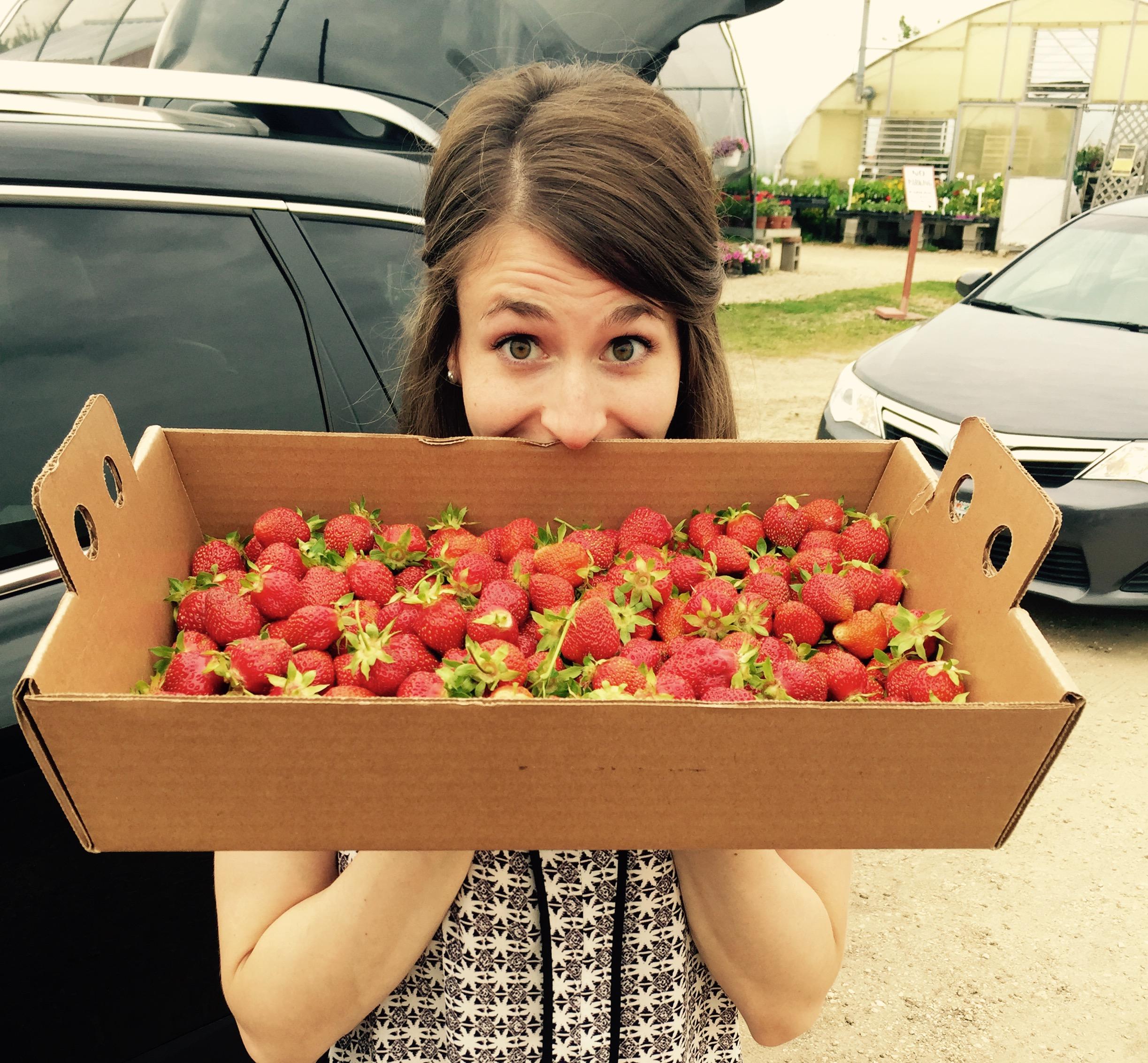 Mmmmm, strawberries! Freshly picked with our Nana.