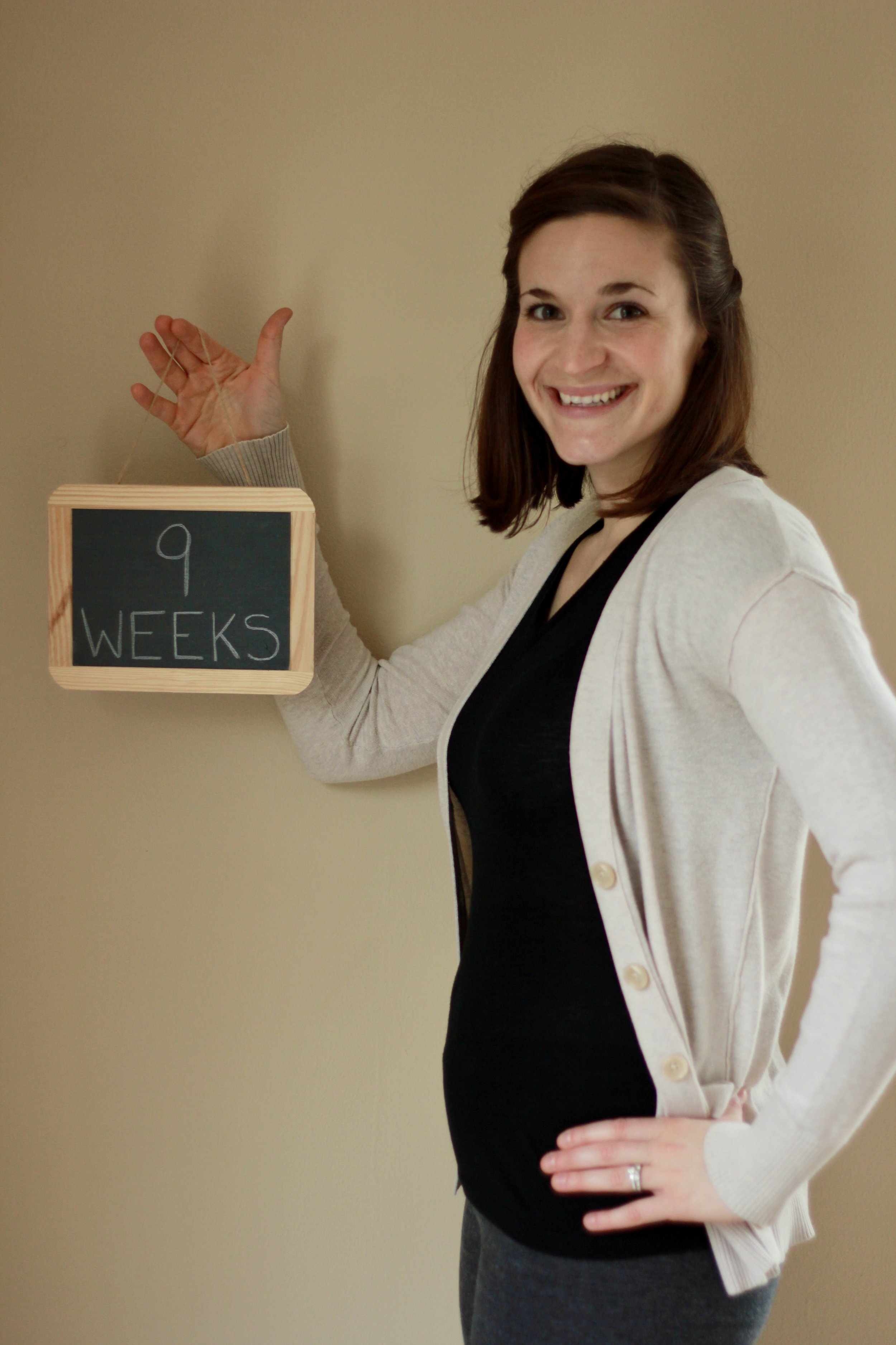 The first photo I took of capturing the pregnancy progression; 9-weeks.