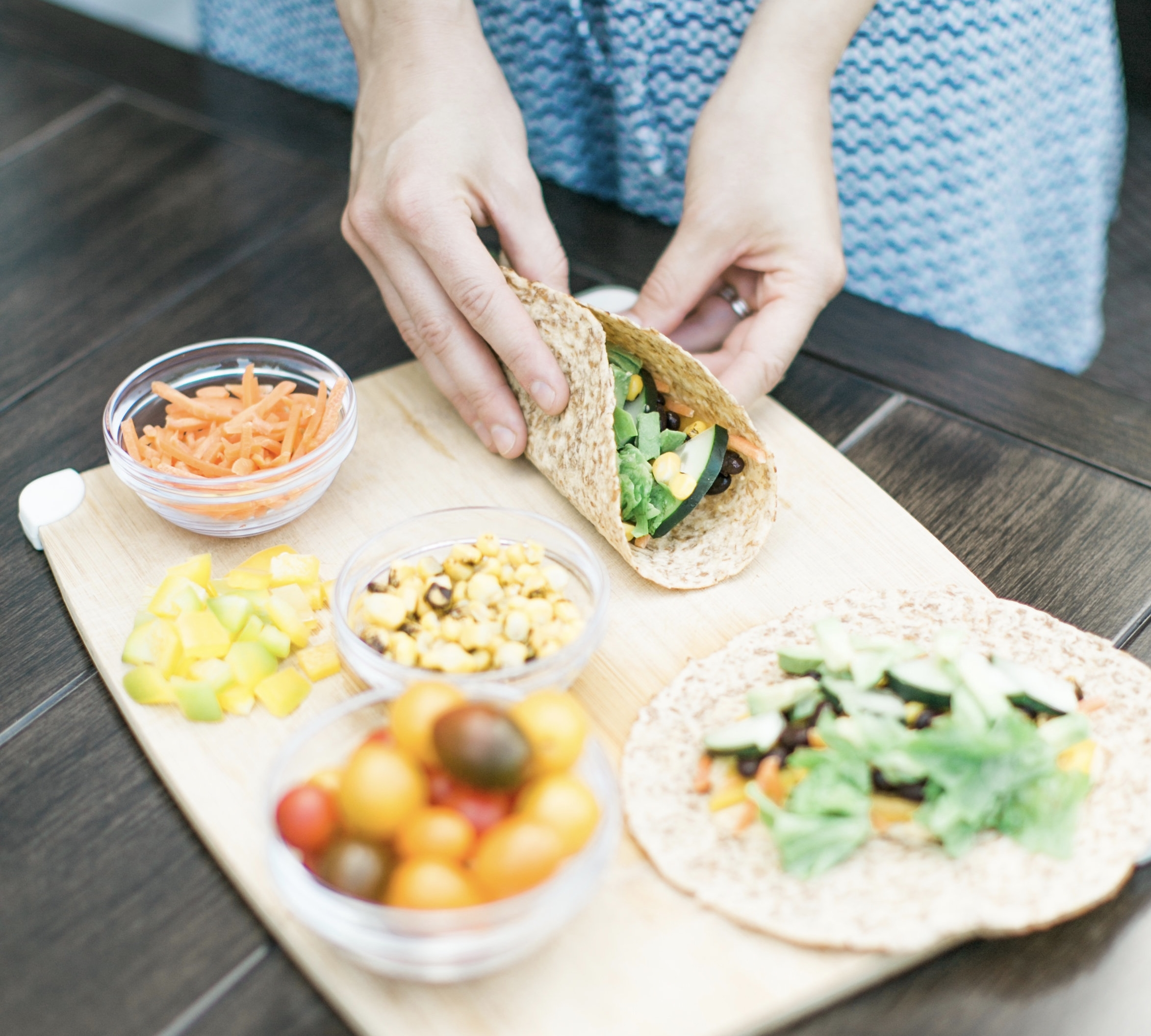 Parent Tips: - These veggie wraps can include any variety of vegetables your child enjoys or you have on hand. Simply cut & prep vegetables over the weekend and these wraps will be ready in a pinch!If your child attends a nut-free school or daycare, try sunflower butter instead!