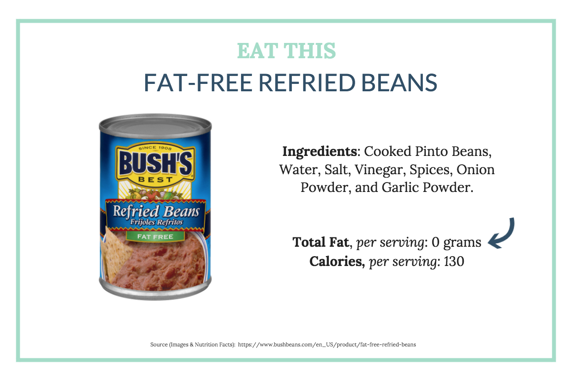 Fat-free refried beans contain no added oil or fat like it's traditional counterpart.