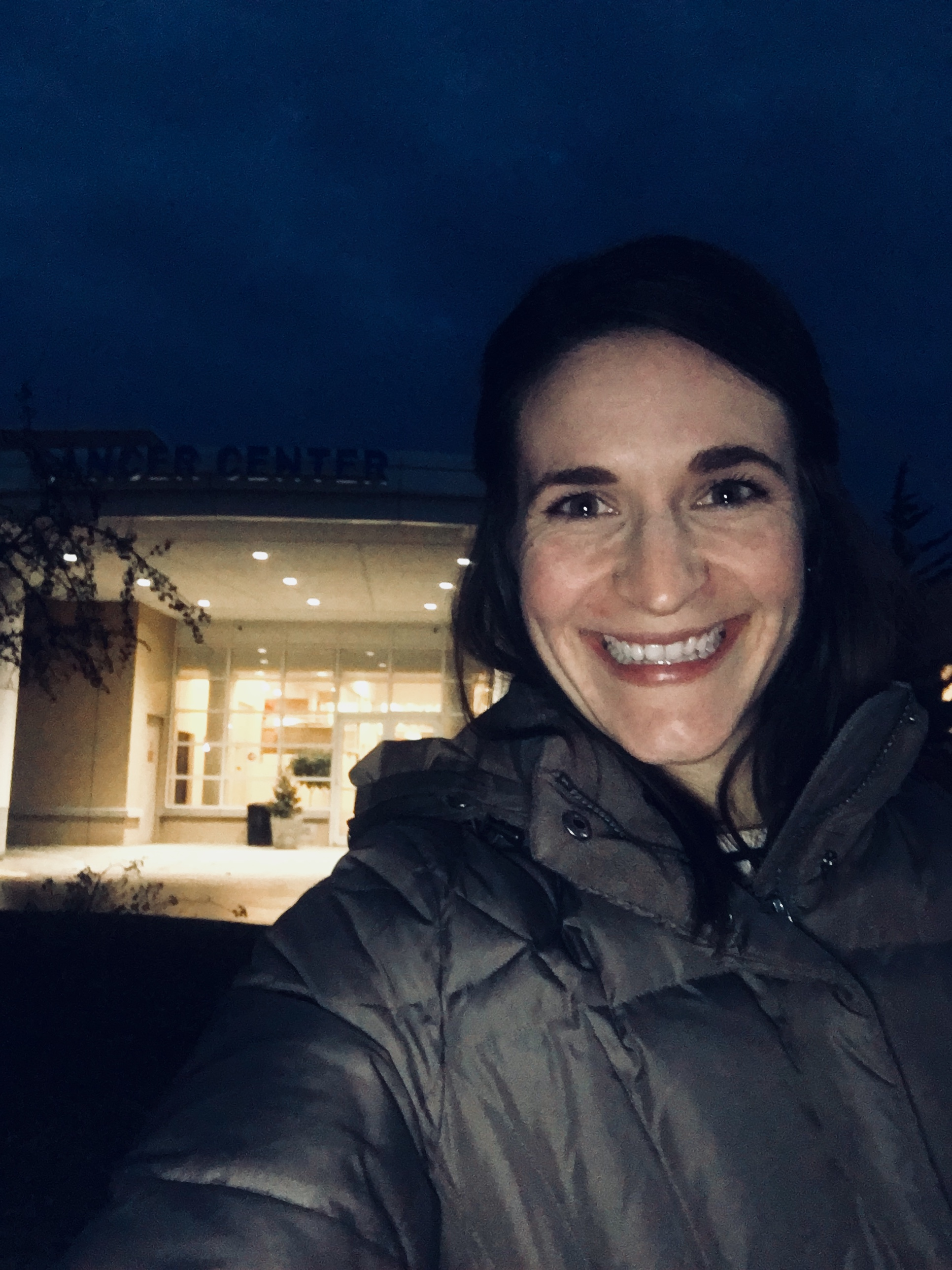 Walking out of the cancer Center after my OFFICIAL last day.